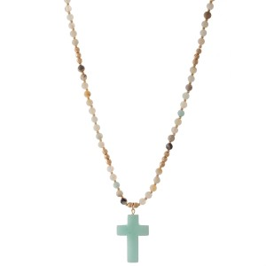 """Semi Precious Beaded Natural Stone Cross Necklace.  - Pendant 1.25"""" - Approximately 20"""" L - 3"""" Adjustable Extender"""
