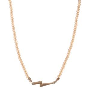 "Short Beaded Lightning Bolt Bar Necklace.  - Pendant 1"" - Approximately 14"" L  - 3"" Adjustable Extender"