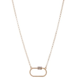 "Rhinestone Carabiner Necklace.  - Pendant 1.25""  - Approximately 18"" L - 3"" Adjustable Extender"