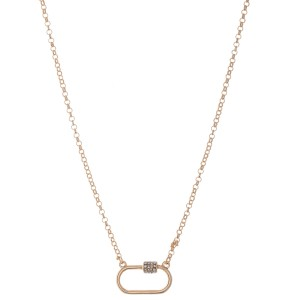 """Rhinestone Carabiner Necklace in Satin Gold.  - Pendant 1""""  - Approximately 18"""" L - 3"""" Adjustable Extender"""