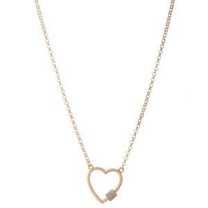 "Rhinestone Carabiner Heart Necklace.  - Pendant 1.25"" - Approximately 18"" L - 3"" Adjustable Extender"