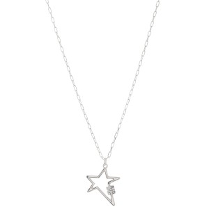 """Rhinestone Carabiner Star Necklace in Satin Silver.  - Pendant 1"""" - Approximately 18"""" L - 3"""" Adjustable Extender"""
