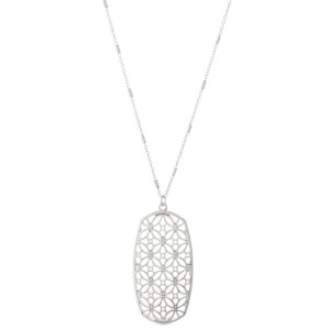 """Long Necklace Featuring Oblong Flower of Life Metal Pendant.  - Pedant 2.5""""  - Approximately 34"""" L - 3"""" Adjustable Extender"""
