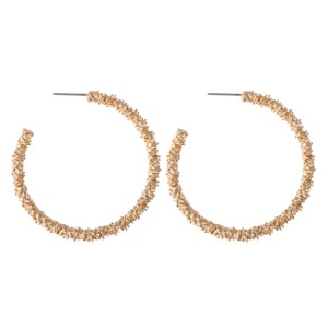 "Gold Crinkled Hoop Earrings.  - Approximately 1.75"" in diameter"