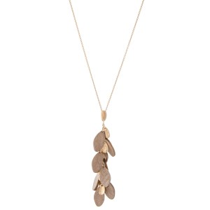 "Long Necklace Featuring Wooden Leaf Tiered Pendant.  - Pendant 3"" L  - Approximately 34"" L  - Adjustable 3"" Extender"