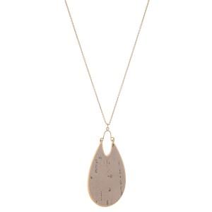 "Long Necklace Featuring Metal Encased Cork Teardrop Pendant.  - Pendant 3"" L - Approximately 36"" L  - Adjustable 3"" Extender"