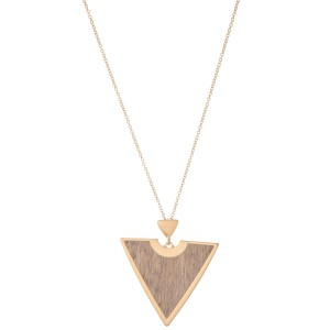 "Long Necklace Featuring Metal Encased Wooden Triangle Pendant.  - Pendant 2.5"" - Approximately 34"" L  - Adjustable 3"" Extender"
