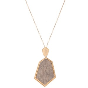 "Long Necklace Featuring Metal Encased Wooden Pendant.  - Pendant 3.5"" L  - Approximately 36"" L  - Adjustable 3"" Extender"