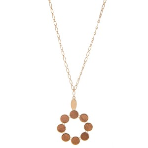 """Long Necklace Featuring Metal Encased Wooden Circular Pendant.  - Pendant approximately 2"""" in diameter - Approximately 34"""" L  - Adjustable 3"""" Extender"""