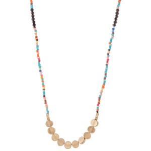 "Long Seed Beaded Necklace Featuring Gold Disc Bead Accents.  - Approximately 32"" L  - 3"" Adjustable Extender"
