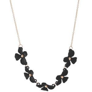 """Coated Flower Necklace.   - Flowers (approx) 1""""  - Approximately 16"""" L  - 3"""" Adjustable Extender"""