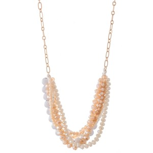"""Multi-Strand Beaded Bib Necklace Featuring Wood Details.  - Approximately 20"""" L  - 3"""" Adjustable Extender"""