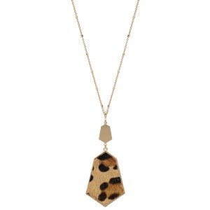 """Long Necklace Featuring Metal Encased Cheetah Print Pendant in Gold.  - Pendant 4"""" Long - Animal Print - Approximately 36"""" Long  - 3"""" Adjustable Extender"""