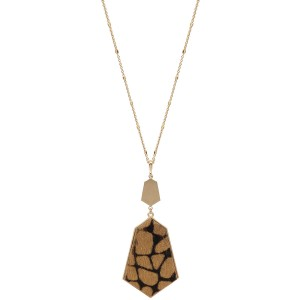 """Long Necklace Featuring Metal Encased Giraffe Print Pendant in Gold.  - Pendant 4"""" Long - Animal Print - Approximately 36"""" Long  - 3"""" Adjustable Extender"""