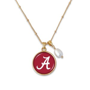 "Alabama Pendant Game Day Necklace Featuring Pearl Accent.  - Pendant 1""  - Approximately 18"" L - 2"" Adjustable Extender"