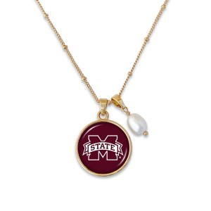 "Mississippi State Pendant Game Day Necklace Featuring Pearl Accent.  - Pendant 1""  - Approximately 18"" L - 2"" Adjustable Extender"