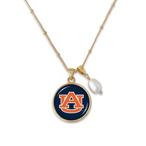 "Auburn Pendant Game Day Necklace Featuring Pearl Accent.  - Pendant 1""  - Approximately 18"" L - 2"" Adjustable Extender"