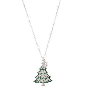 "Enamel Coated Christmas Tree Pendant Necklace.  - Pendant 1.5""  - Approximately 18"" L - 3"" Adjustable Extender"