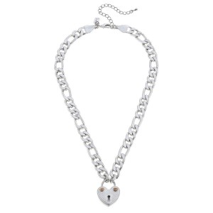 "Chunky Curb Chain Link Heart Lock Pedant Necklace.  - Pendant 1"" - Approximately 16"" L - 3"" Adjustable Extender"