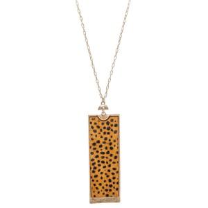 "Long Necklace Featuring Metal Encased Genuine Cheetah Print Rectangle Pendant.  - Pendant 3""  - Approximately 36"" Long  - 3"" Adjustable Extender"