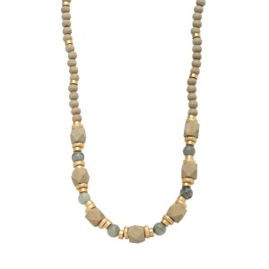 """Long Wood Beaded Semi Precious Statement Necklace in Gold.  - Approximately 30"""" in Length  - 3"""" Adjustable Extender"""