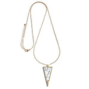 """Long Necklace Featuring Semi Precious Triangle Pendant.  - Pendant 2""""  - Approximately 34"""" in Length - 3"""" Adjustable Extender"""