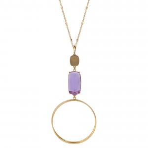 """Long Gold Necklace Featuring Crystal Accent and Round Pendant.   - Approximately 36"""" Long"""
