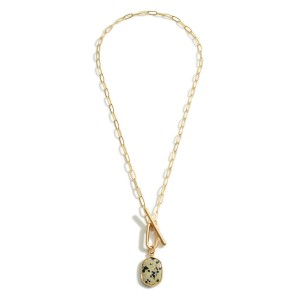 """Chain Link Necklace Featuring Natural Stone Pendant and Toggle Closure.   - Approximately 20"""" Long"""