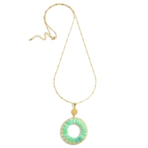 """Long Gold Necklace Featuring a Circular Pendant with Beaded Accents.  - Approximately 18"""" in Length - Extender Approximately 3"""" in Length"""