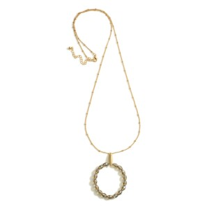 """Long Metal Necklace Featuring Beaded Round Pendant.   - Approximately 36"""" Long"""