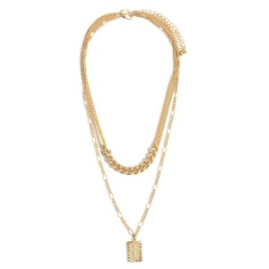 """Layered Chain Link Necklace Featuring CZ Cross Pendant.   - Approximately 20"""" Long"""