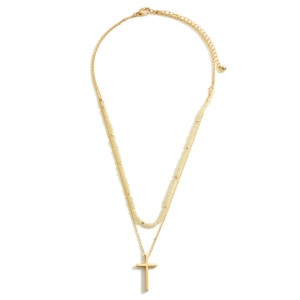 """Layered Gold Necklace Featuring a Cross Pendant and Beaded Accents.  - Approximately 7.5"""" in Length - Extender Approximately 3"""" in Length"""