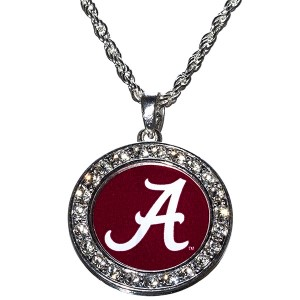 Officially Licensed Collegiate Product. University of Alabama Necklace with Polished Silver Tone Metal Chain and Round Design with CZs. Lobster Clasp. (Necklace is Approx. 18 in L x 1.6 in W). Comes in Textured Beige Gift Box with School Colors Background and Clear Plastic Box Cover.