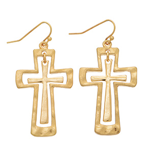 Gold tone fishhook style earrings featuring a cut out cross and inner cross.