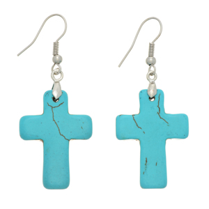 "Silver tone fishhook earrings featuring a turquoise stone cross. Approximately 1 1/8"" in length."