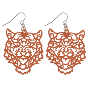 """Orange fishhook earrings featuring a cutout tiger. Approximately 1 1/2"""" in length"""