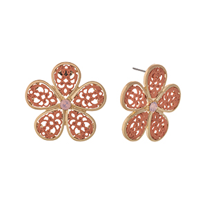"""Gold tone post style earrings displaying a coral filigree design flower. Approximately 1 1/2"""" in length."""