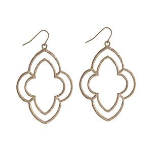"""Gold tone open Moroccan shape fishhook earrings. Approximately 2 1/4"""" in length."""