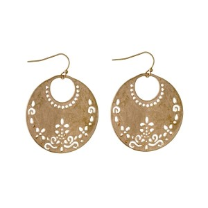 "Gold tone fishhook earrings with a laser cut circle. Approximately 2"" in length."