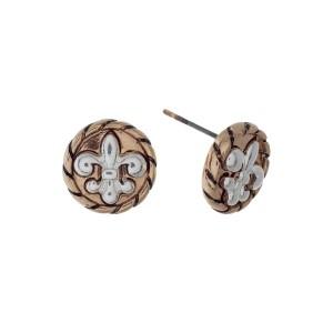 """Two tone Fleur de Lis stud earrings. Approximately 1/3"""" in length."""