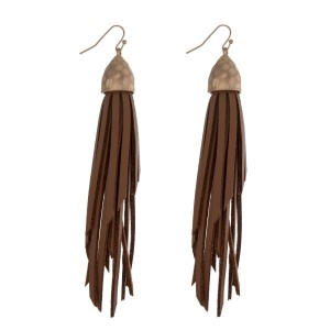 "Gold tone fishhook earrings displaying a faux leather brown tassel. Approximately 5"" in length."