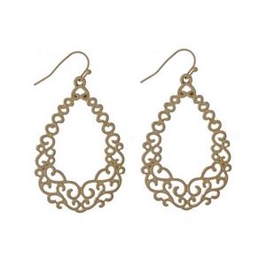 """Gold tone fishhook earrings with a filigree, open teardrop shape. Approximately 2"""" in length."""