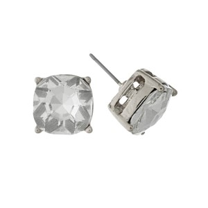 """Silver tone stud earrings with a clear rhinestone. Approximately 1/2"""" in width."""