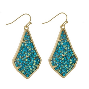 """Gold tone fishhook earrings featuring turquoise and mint stones. Approximately 2"""" in length."""