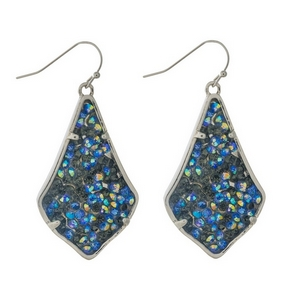 """Silver tone fishhook earrings featuring black  and iridescent stones. Approximately 2"""" in length."""