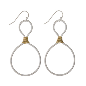 """Silver tone fishhook earrings with gold tone wire wrapping detailing. Approximately 2"""" in length."""