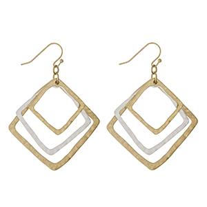"""Gold tone fishhook earrings with three diamond shapes and a hammered texture. Approximately 2"""" in length."""
