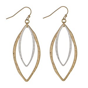 """Gold tone fishhook earrings with two tone oval shapes. Approximately 2"""" in length."""