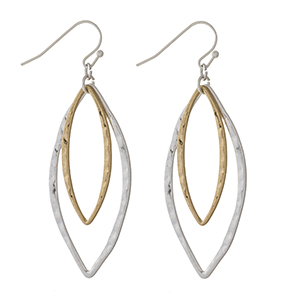 """Silver tone fishhook earrings with two tone oval shapes. Approximately 2"""" in length."""