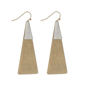 """Gold tone fishhook earrings with two tone triangle shapes. Approximately 3"""" in length."""